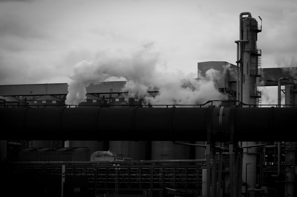 industrial plant emitting smoke