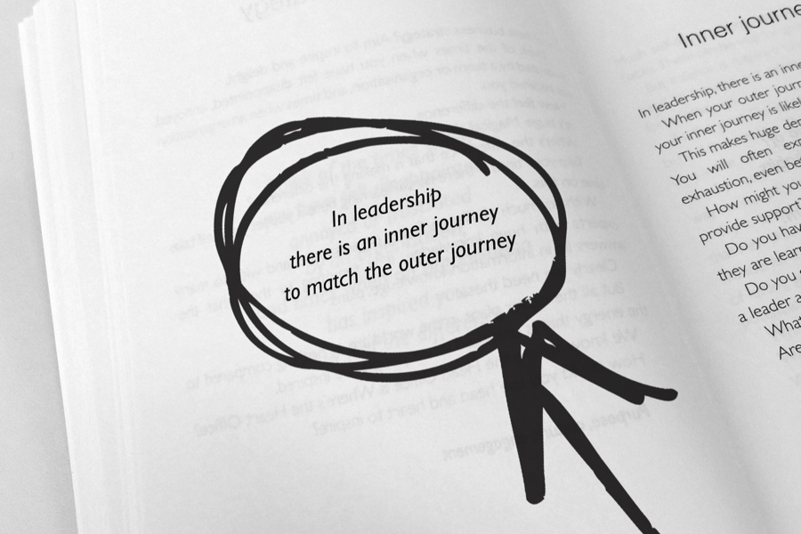 Inner Journey quote highlighted in book page with marker pen
