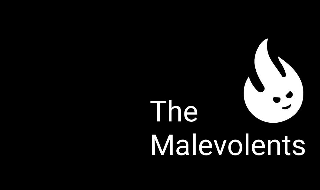 Malevolents icon and words on black background